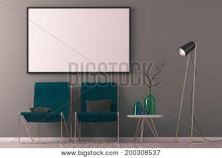 Contemporary Scandinavian Interior With Billboard