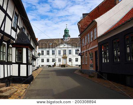 Center of the city of Bogense Funen Denmark beautiful travel attraction destination
