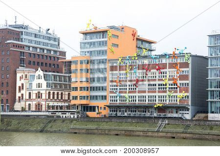 Media harbor of Dusseldorf the capital city of the German state of North Rhine-Westphalia and the seventh most populous city in Germany