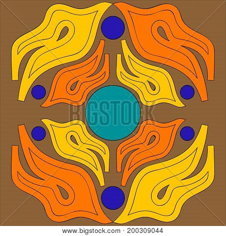 Vector illustration abstract ornament of flame tongues orange and yellow arranged symmetrically opposite each other with circles of purple and blue on a brown background.