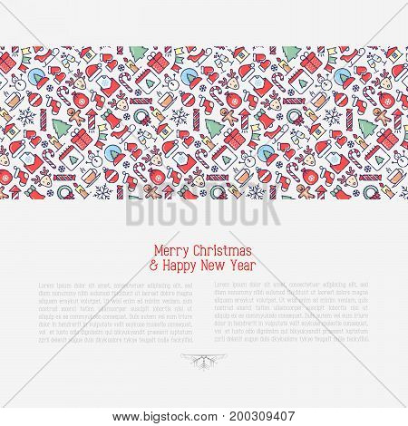 Merry Christmas celebration concept with thin line New Year and Christmas symbols for web page, banner, invitation, greeting card, print media. Vector illustration.