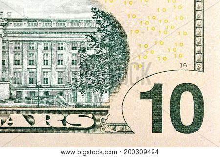 Some elements on U.S. 10 dollar dill. High resolution photo