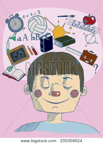 vector illustration of a hand drawn kid with closed eyes and thinking about school with blue lines on pink background