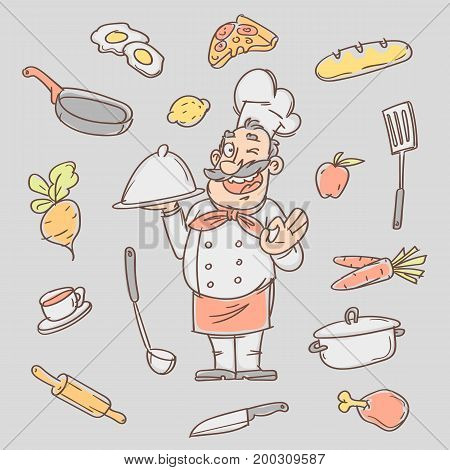 Drawing sketch cook and various kitchen objects. Vector illustration. Sketch Doodle.