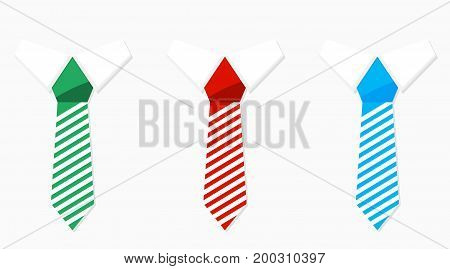 Set of colored necktie green blue and red. Business casual collection. Vector illustration