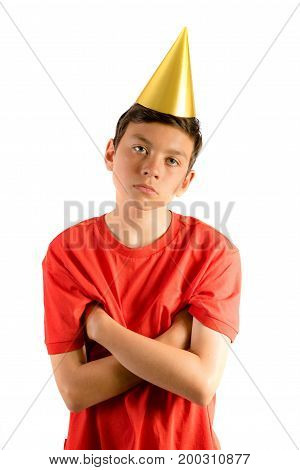 Young teenage boy isolated on white looking annoyed at a party