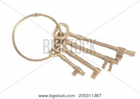 Antique Golden Keys On A Keyring