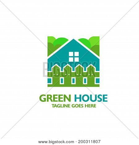 house icon with fence and tree background
