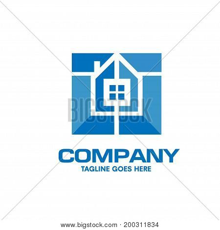 squares style house interior decoration vector logo