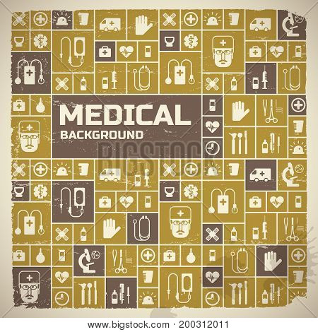 Medical help design background with science and health symbols flat vector illustration