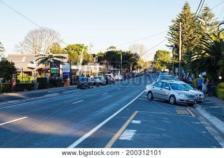 Mt Tamborine, Australia - July 8, 2017: view along Long Road, the main tourist street of Mt Tamborine in the Gold Coast hinterland.