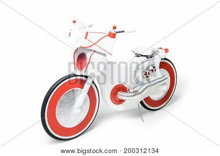electric bike created from foil colander and shuttlecocks isolated on white