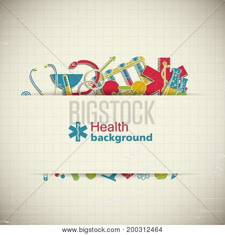 Health paper style background with medical equipment symbols vector illustration