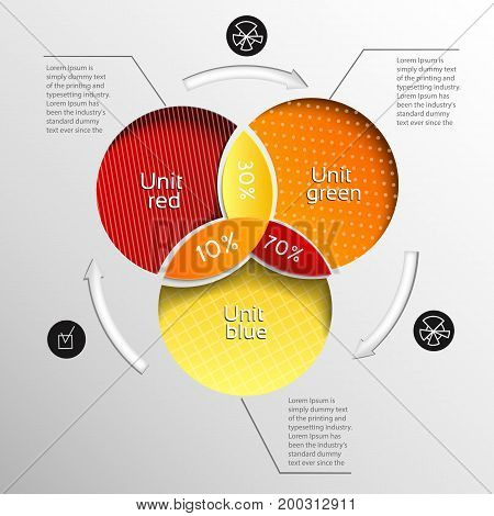 Colored pie chart template combined in three little pie charts and descriptions about all vector illustration