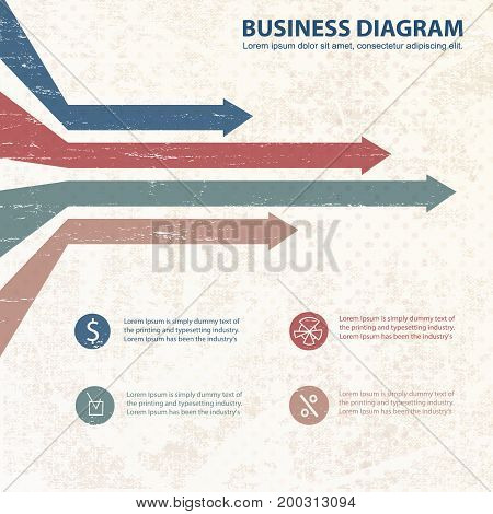 Flat business diagram template in pastel colors with horizontal arrows and text field at bottom vector illustration