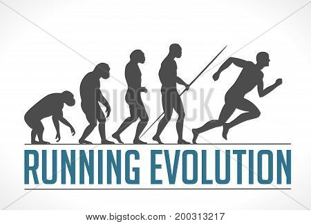Human evolution - running - stock illustration