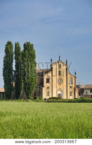 The historic church of San Bassiano near Lodivecchio (or Lodi Vecchio Lodi Lombardy Italy) exterior
