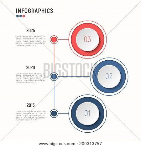 Iinfographic template for data visualization. 3 steps. Vector illustration