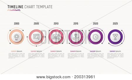 Timeline chart infographic design for data visualization. 6 steps. Vector illustration.