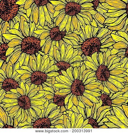 Sunflower seamless shattered pattern. Floral background vector hand drawn illustration.Colored page for adults and children. Design art book textile print poster fabric card