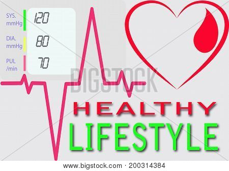 drawing heart line depicting heartbeat and that says a Healthy lifestyle
