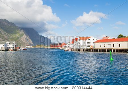 Norway island of Nusfjord small fishing village