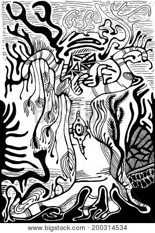 Black and white surreal landscape. Fantasy alien forest isolated.Vector hand drawn illustration.Color page for adults and children. Book textile print poster design sticker card