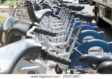 VALENCIA SPAIN - june 21 2017: Service Vehicles bicycles Vodafone Bicing. Bicing is the name of a bicycle sharing system in Barcelona inaugurated on March 22 2007.