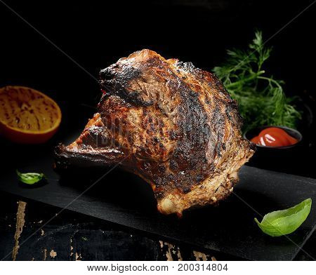 Barbecue Rib Eye Steak on Slate Slab