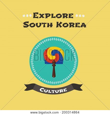 Traditional Korean woman's fan vector illustration. Design element with colorful fashion element famous in South Korea