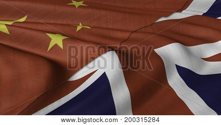 3D Illustration of Chinese and UK flag fluttering in light wind.