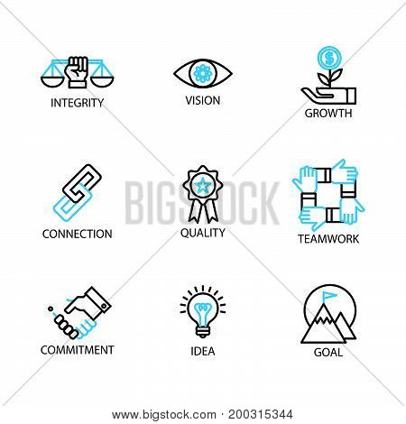 Modern Thin Line Icon And Pictogram, Business Core Value Concept, Flat Thin Line Designed Vector Ill