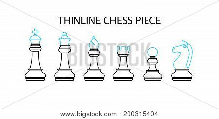 Thin Line Chess Pieces, Flat Designed Vector Illustration.