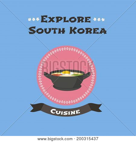 Korean traditional food bibimbap vector illustration. Travel to South Korean concept image