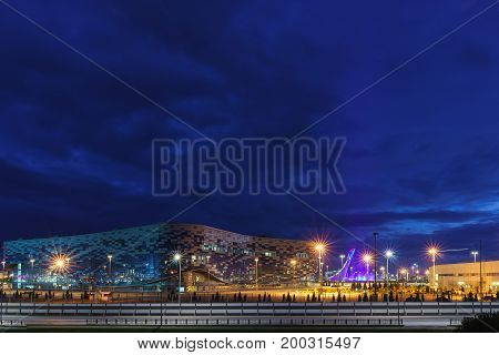 Night Lighting Of The Sochi Olympic Park: Ice Sports Palace