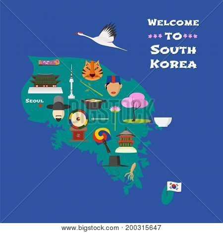 Map of South Korea vector illustration design element. Icons with South Korean cherry tree drum oriental costumes. Explore South Korea concept image