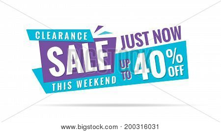 Vol. 3.2 Clearance Sale Blue Purple 40 Percent Heading Design For Banner Or Poster. Sale And Discoun