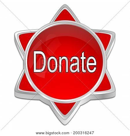 decorative red Donate Button - 3D illustration