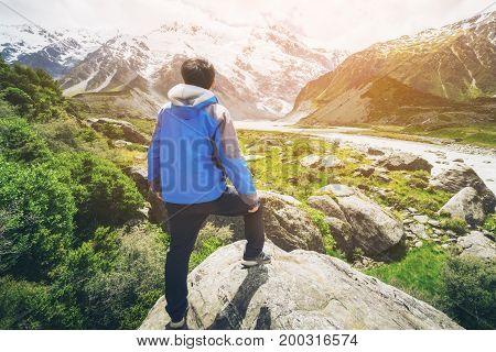 Man Traveling In Mountain Ranges Landscape