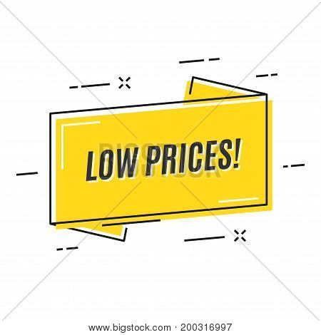 Flat linear promotion ribbon banner, price tag, sticker, badge, poster Vector illustration