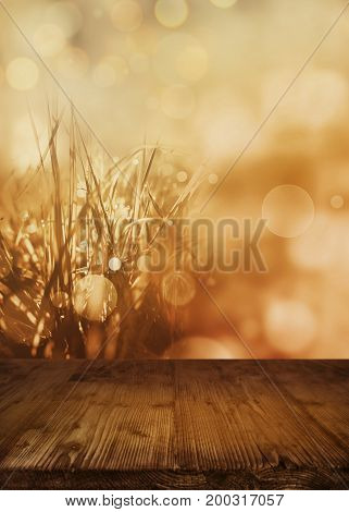 Abstract autumn landscape with golden bokeh and empty wooden table for thanksgiving
