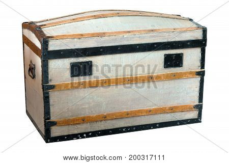 Wooden treasure style chest with dents and scratches on a isolated white background