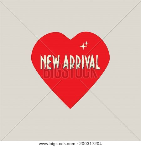 New Arrival vector sign, symbol or banner. Heart Shape and text New Arrival.