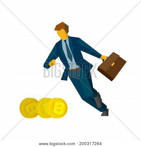 Businessman running for gold bitcoins. Isolated on white background. Business concept (metaphors) - cryptocurrency mining, money search, increase in profits. Flat infographics vector clip art.