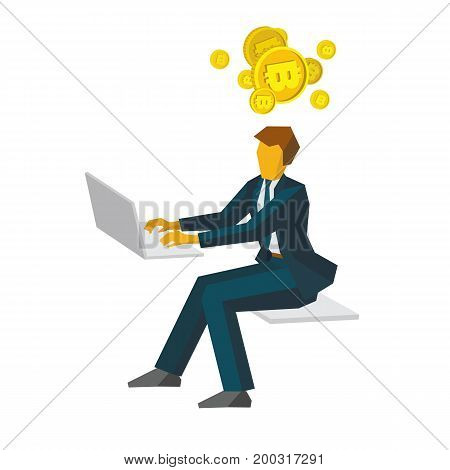 Businessman working on a computer and thinking about gold bitcoins. Business concepts - profit growth, digital currency, finance. Flat style vector clip art isolated on white background.