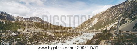 Panorama View Of River And Mountain Landscape