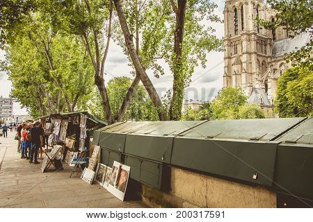 Traditional Bouquiniste Booth On The Edge Of The Seine