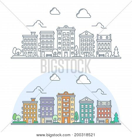 thin line apartment building complex. linear cityscape. small town street scene with residential houses and park. flat outline style. isolated on white background. vector illustration