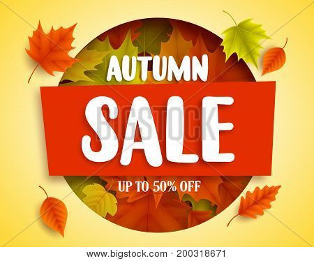 Autumn sale vector banner design in red box with colorful maple leaves elements for fall season marketing promotion. Vector illustration.