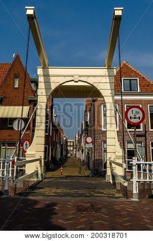 ALKMAAR THE NETHERLANDS - AUGUST 25 2013: Traditional bridge in Alkmaar the Netherlands